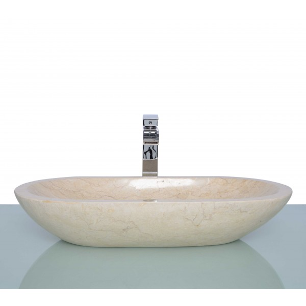 Polished Beige Marble Stone Oval Wash Basin / Sink - L 70 x W 35 x H 13 cm