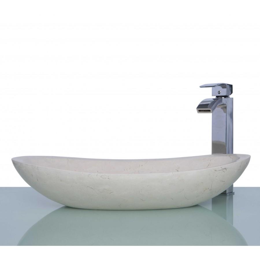 New Crema Marfil Marble Stone Oval Wash Basin / Sink - L 60 x W 35 x H 12 cm
