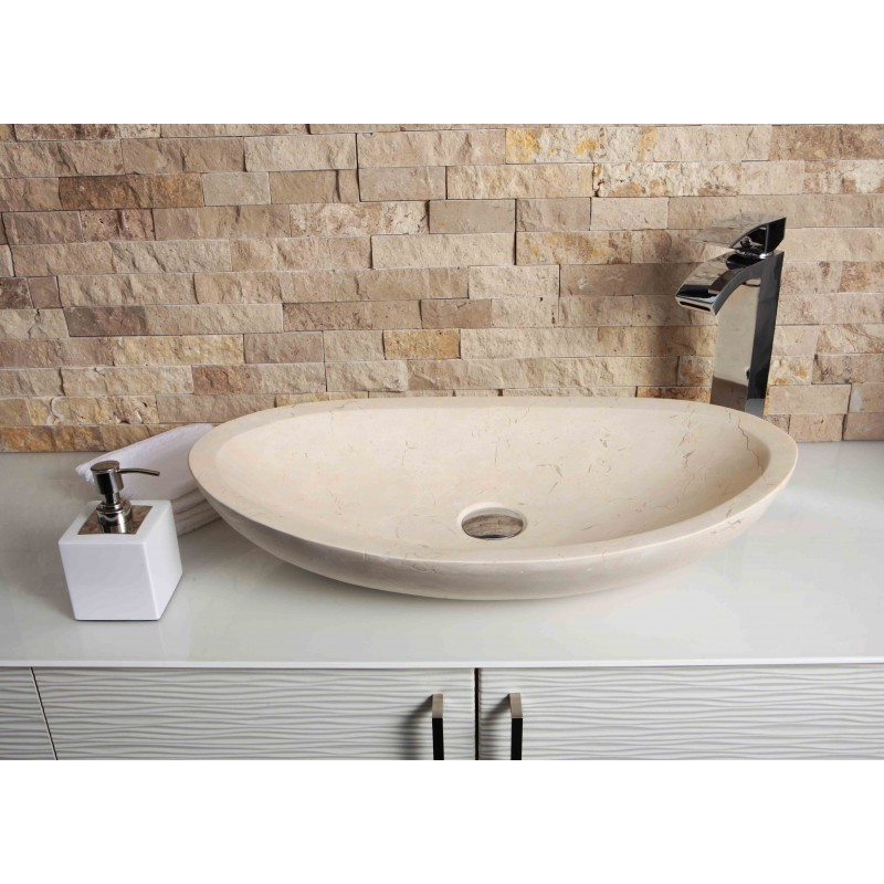 Marble Floor Sinks : New crema marfil marble stone oval wash basin sink