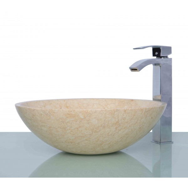 Beige Marble Stone Round Wash Basin / Sink + FREE WASTE