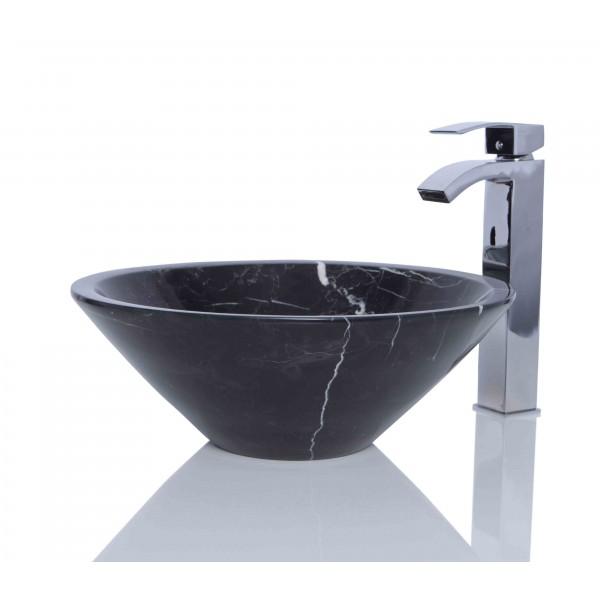 Black Marble Nero Marquina Stone Round Wash Basin / Sink + FREE WASTE