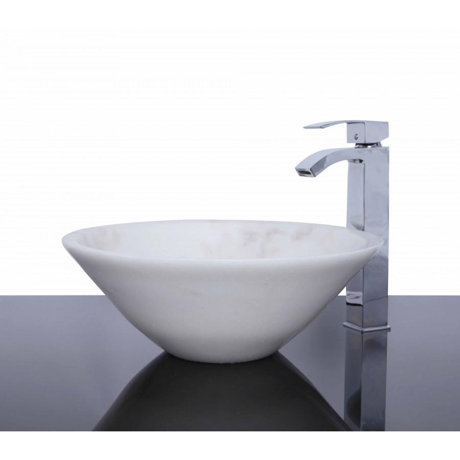 White Marble Stone Round Wash Basin / Sink - L 42 x H 15 cm