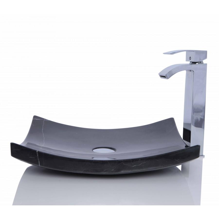 Black Marble Nero Marquina Stone Retangular Wash Basin / Sink - L 45 x W 40 x H 11 cm