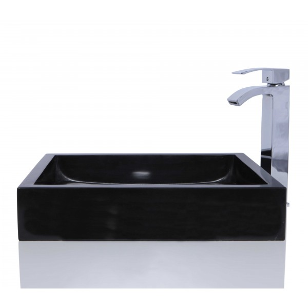 Black Marble Stone Retangular Wash Basin / Sink + FREE WASTE