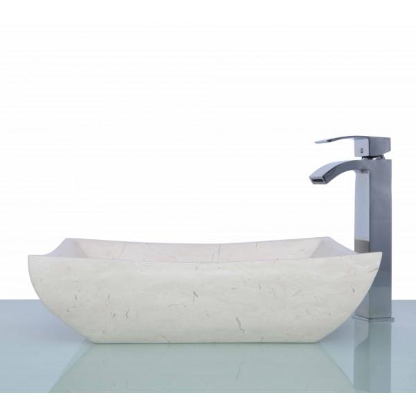 New Crema Marfil Marble Stone Retangular Wash Basin / Sink - L 48 x W 37 x H 13 cm