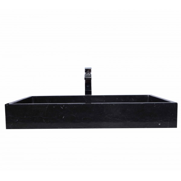 LARGE Black Marble Nero Marquina Stone Wash Basin / Sink - L 80 x W 45 x H 10 cm
