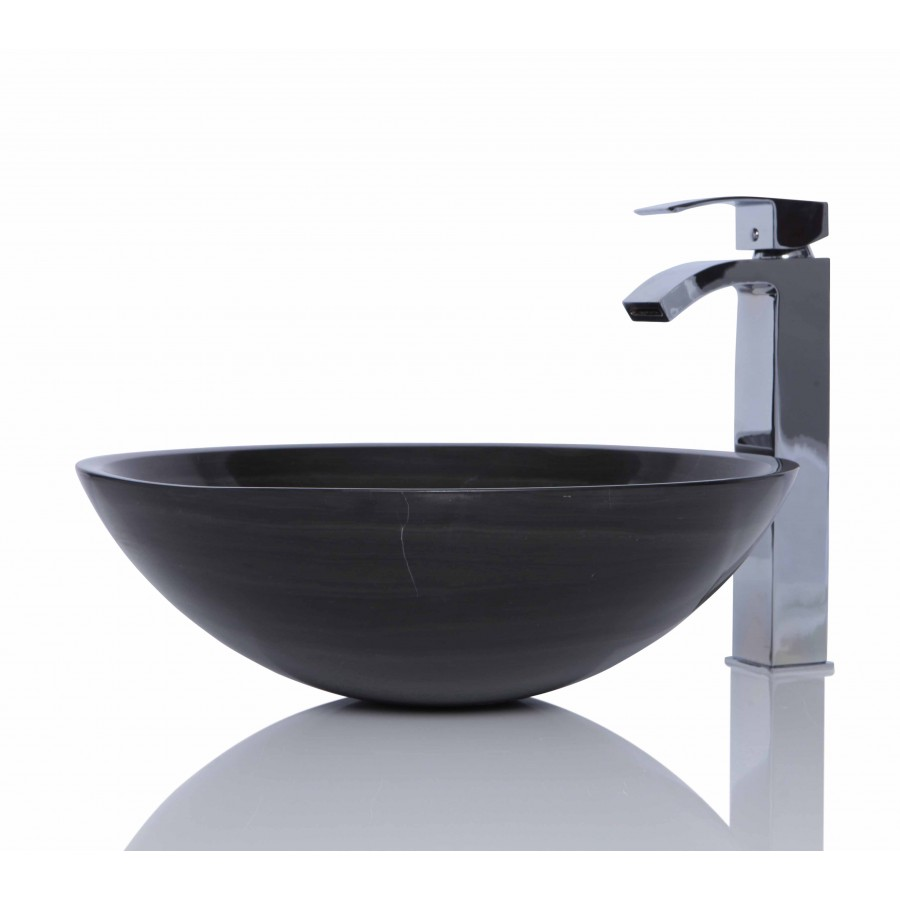 Chocolate Brown Marble Stone Circle Wash Basin / Sink - L 42 x H 15 cm