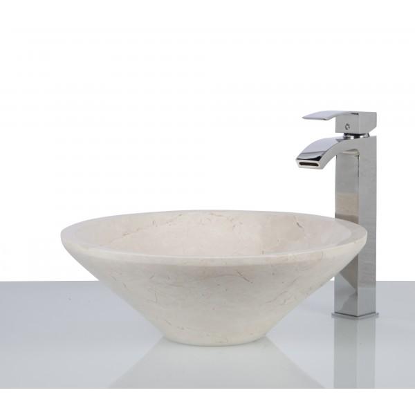 New Crema Marfil Marble Stone Round Wash Basin / Sink + FREE WASTE