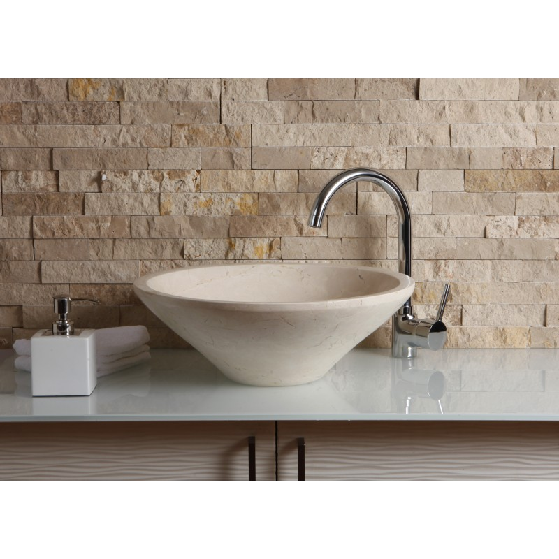 Marble Floor Sinks : New crema marfil marble stone round wash basin sink