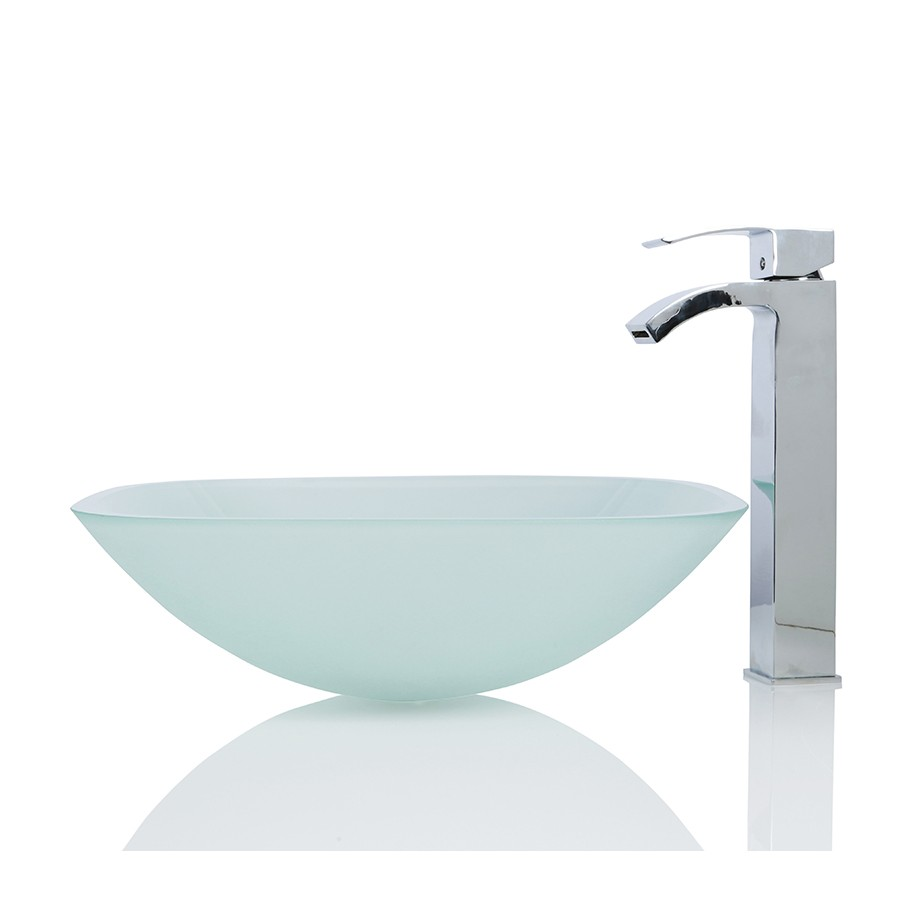 Frosted Glass Square Wash basin / Sink + Free Waste
