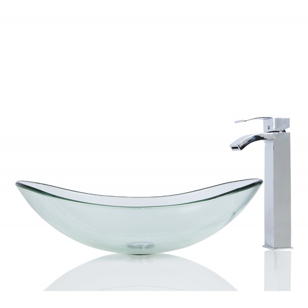 Large Glass Oval Wash basin / Sink + Free Waste