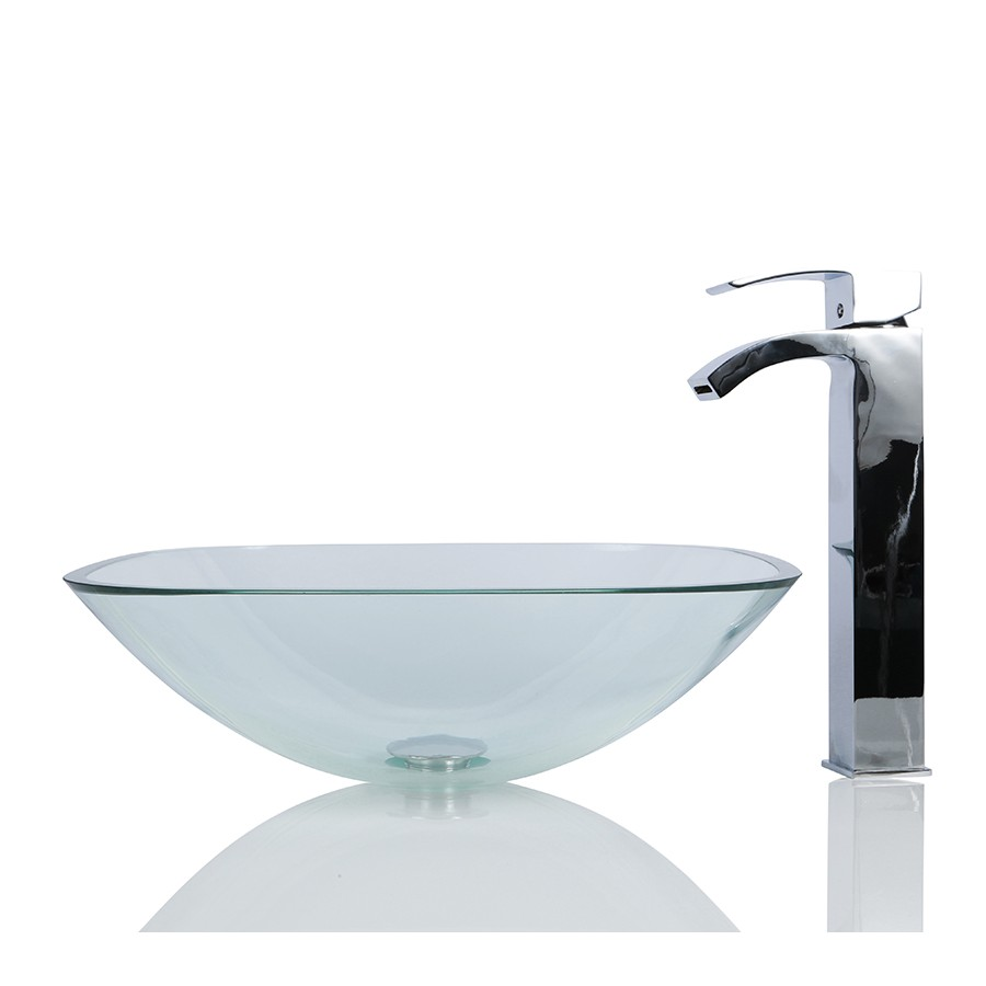 Glass Square Wash basin / Sink + Free Waste