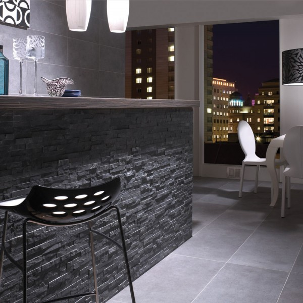 Split Face BLACK SLATE Natural Stone Cladding Mosaic Tile Wall