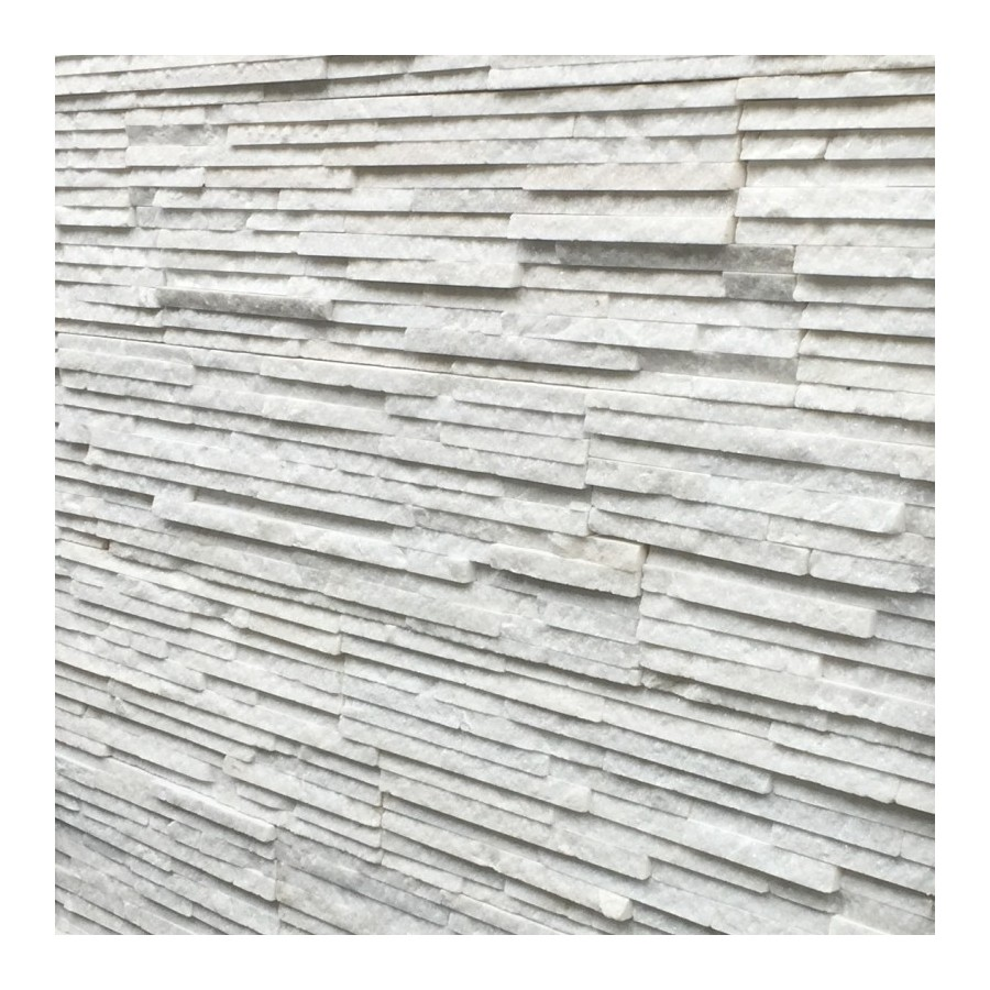 Split Face White Quartz Sparkly Strip Natural Stone Cladding Mosaic Tile Wall