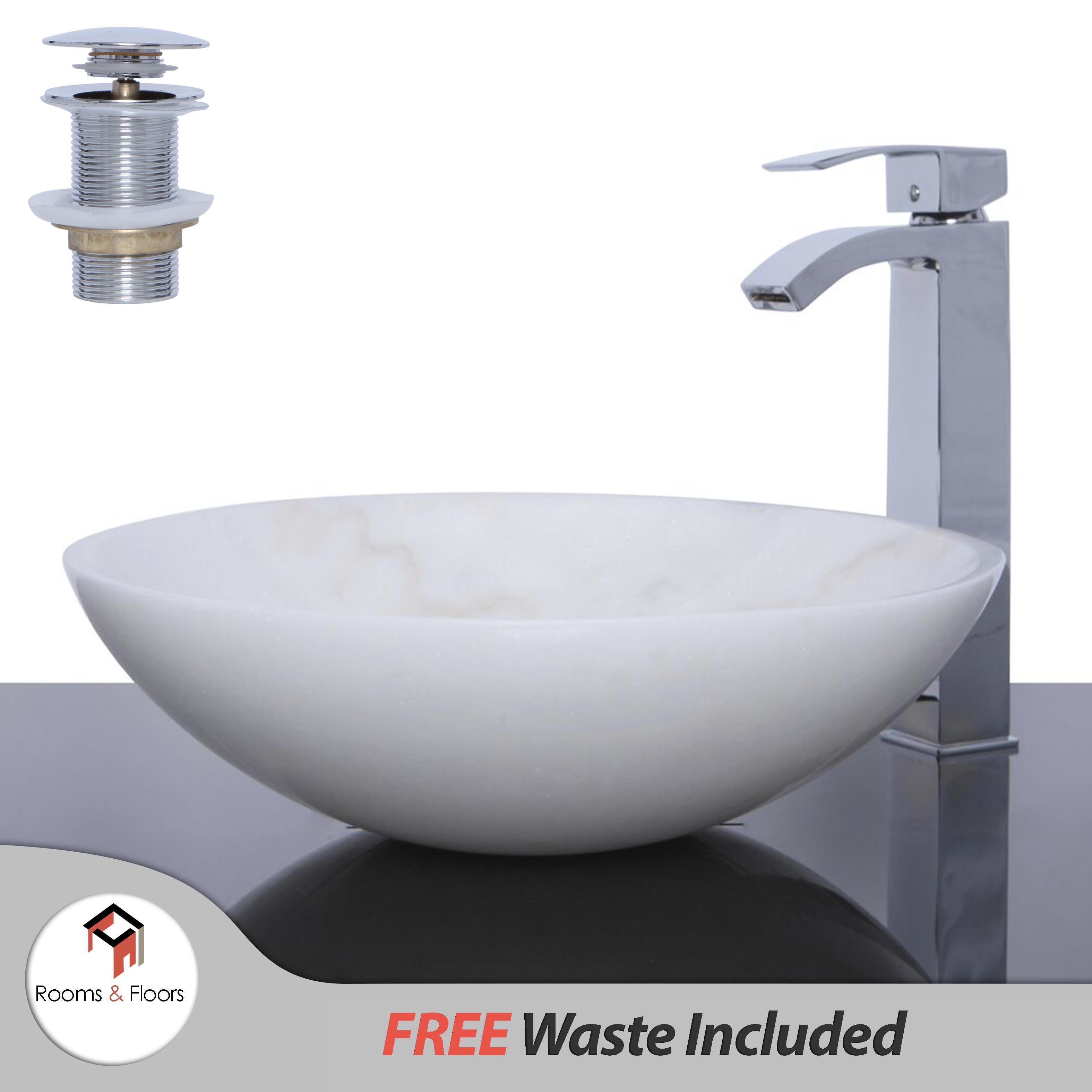 beige marmor stein rund waschbecken waschbecken 42 cm abfall freier ebay. Black Bedroom Furniture Sets. Home Design Ideas