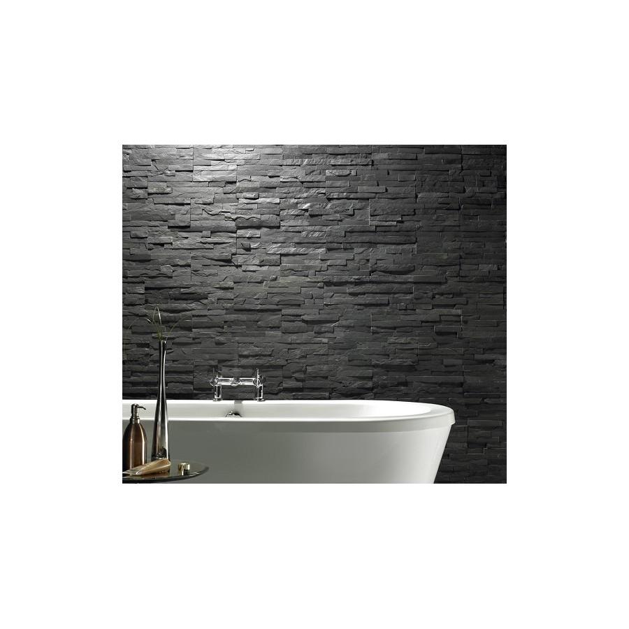 Black Slate Split Face Mosaic Tiles For Walls